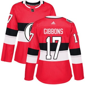 Women's Ottawa Senators Brian Gibbons Adidas Authentic 2017 100 Classic Jersey - Red