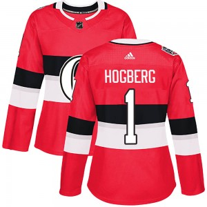 Women's Ottawa Senators Marcus Hogberg Adidas Authentic 2017 100 Classic Jersey - Red