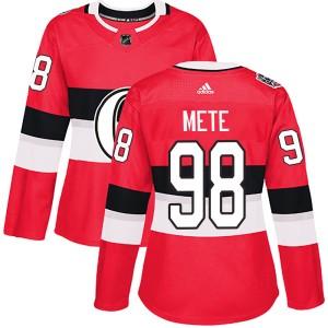 Women's Ottawa Senators Victor Mete Adidas Authentic 2017 100 Classic Jersey - Red