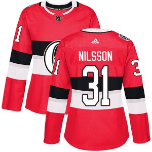 Women's Ottawa Senators Anders Nilsson Adidas Authentic 2017 100 Classic Jersey - Red