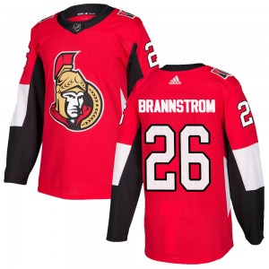 Men's Ottawa Senators Erik Brannstrom Adidas Authentic Home Jersey - Red