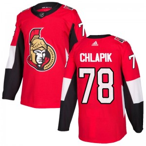 Men's Ottawa Senators Filip Chlapik Adidas Authentic Home Jersey - Red