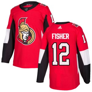 Men's Ottawa Senators Mike Fisher Adidas Authentic Home Jersey - Red