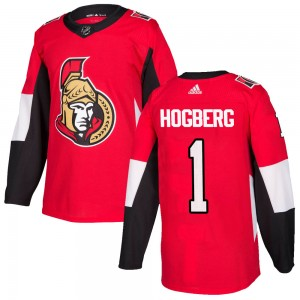 Men's Ottawa Senators Marcus Hogberg Adidas Authentic Home Jersey - Red