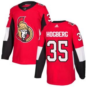 Men's Ottawa Senators Marcus Hogberg Adidas Authentic Home Jersey - Red