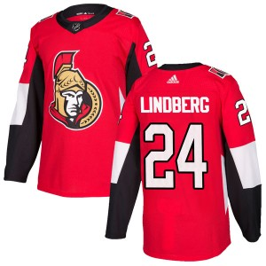 Men's Ottawa Senators Oscar Lindberg Adidas Authentic Home Jersey - Red