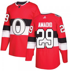 Youth Ottawa Senators Michael Amadio Adidas Authentic 2017 100 Classic Jersey - Red