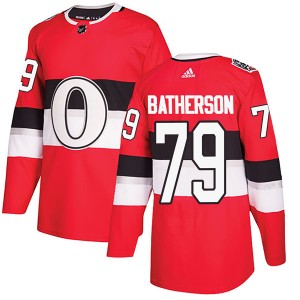 Youth Ottawa Senators Drake Batherson Adidas Authentic 2017 100 Classic Jersey - Red