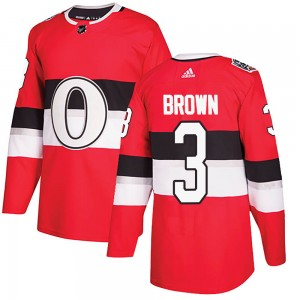 Youth Ottawa Senators Josh Brown Adidas Authentic 2017 100 Classic Jersey - Red
