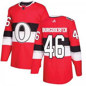 Youth Ottawa Senators Erik Burgdoerfer Adidas Authentic 2017 100 Classic Jersey - Red