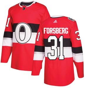 Youth Ottawa Senators Anton Forsberg Adidas Authentic 2017 100 Classic Jersey - Red