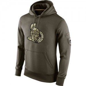 Men's Ottawa Senators Nike Salute To Service KO Performance Hoodie - Olive