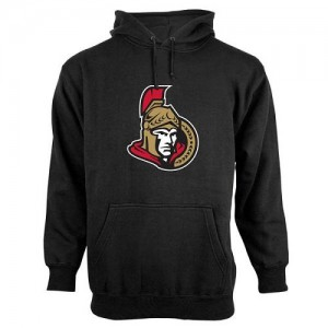Men's Ottawa Senators Old Time Hockey Big Logo with Crest Pullover Hoodie - - Black