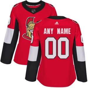 Women's Ottawa Senators Custom Adidas Authentic ized Home Jersey - Red