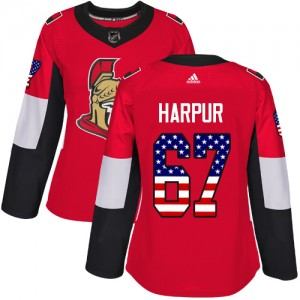 Women's Ottawa Senators Ben Harpur Adidas Authentic USA Flag Fashion Jersey - Red