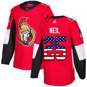 Men's Ottawa Senators Chris Neil Adidas Authentic USA Flag Fashion Jersey - Red