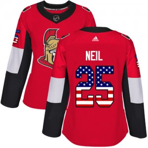 Women's Ottawa Senators Chris Neil Adidas Authentic USA Flag Fashion Jersey - Red