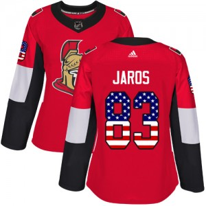 Women's Ottawa Senators Christian Jaros Adidas Authentic USA Flag Fashion Jersey - Red