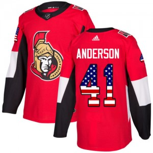 Youth Ottawa Senators Craig Anderson Adidas Authentic USA Flag Fashion Jersey - Red