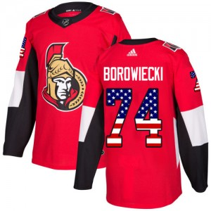 Men's Ottawa Senators Mark Borowiecki Adidas Authentic USA Flag Fashion Jersey - Red