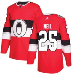 Men's Ottawa Senators Chris Neil Adidas Authentic 2017 100 Classic Jersey - Red