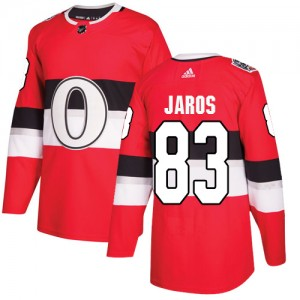 Men's Ottawa Senators Christian Jaros Adidas Authentic 2017 100 Classic Jersey - Red