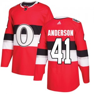 Youth Ottawa Senators Craig Anderson Adidas Authentic 2017 100 Classic Jersey - Red