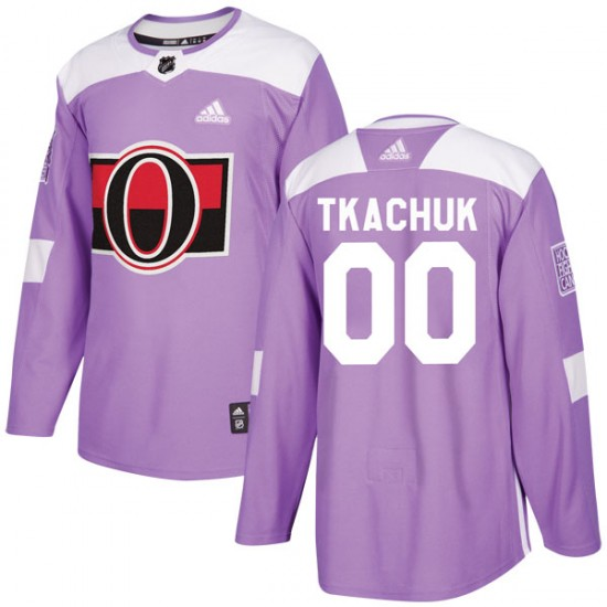 Men's Ottawa Senators Brady Tkachuk Adidas Authentic Fights Cancer Practice Jersey - Purple